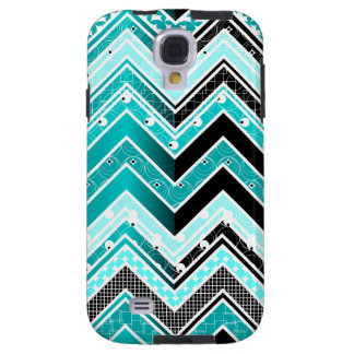 Turquoise, White and black Chevron pattern Galaxy S4 Case