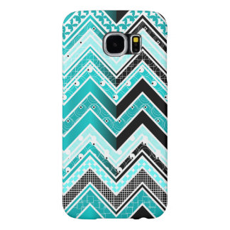 Turquoise, White and black Chevron pattern Samsung Galaxy S6 Case
