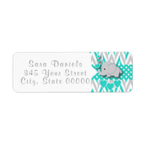 Turquoise, White and Gray Elephant Baby Shower 2 Label