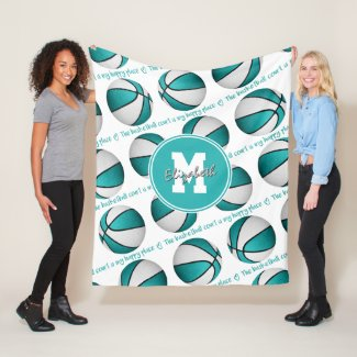 turquoise white basketball court my happy place fleece blanket