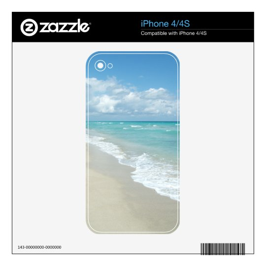 Turquoise/White Beach Decal For The iPhone 4