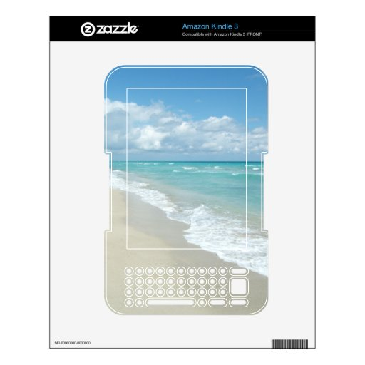 Turquoise/White Beach Decals For Kindle 3