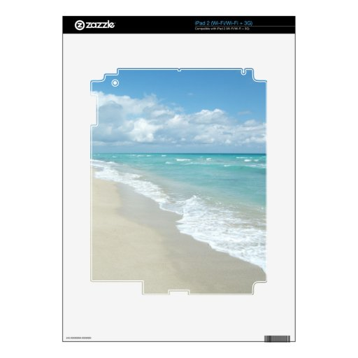 Turquoise/White Beach iPad 2 Decal