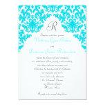 Turquoise, White, Black Damask Monogrammed Invite