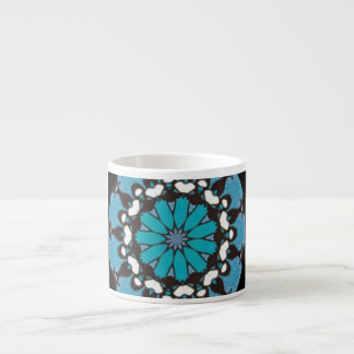 Turquoise White Black Fractal Flower Espresso Cup
