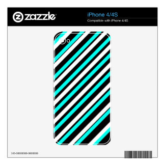 Turquoise,white, black stripes decals for iPhone 4