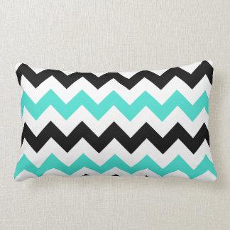 Turquoise White Black Zigzag Lumbar Pillow