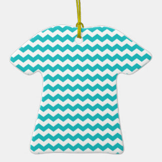 turquoise  white chevrons Double-Sided T-Shirt ceramic christmas ornament