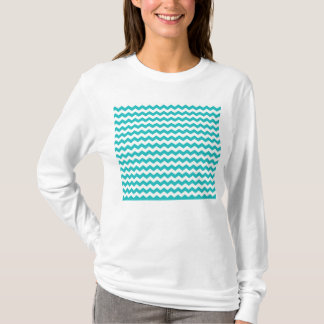 turquoise  white chevrons T-Shirt