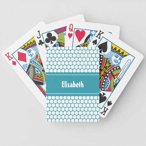 Turquoise White Custom Personalized Name Geometric Bicycle Playing Cards