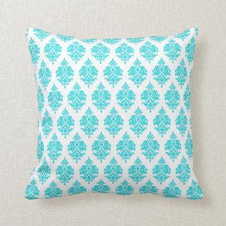 Turquoise,White,Damask Pattern Throw Pillow