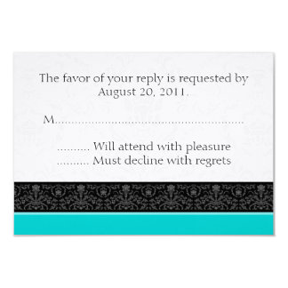 Turquoise & White Damask Wedding RSVP Reply Cards