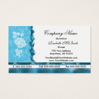 Turquoise White Embroidery Rose Business Cards