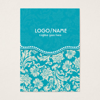 Turquoise & White Floral Damasks 2-Customized Business Card