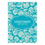 Turquoise & White Floral Damasks-Customized Large Business Cards (Pack Of 100)