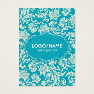Turquoise & White Floral Damasks-Customized Business Card