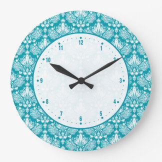 Turquoise & White Floral Lace Damask Large Clock