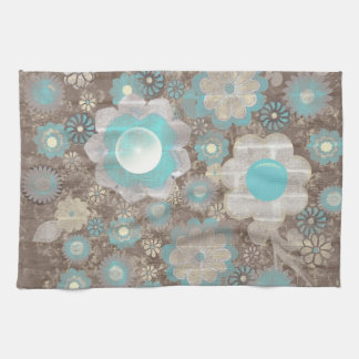 Turquoise-White Flowers American MoJo Kitchen Hand Towel