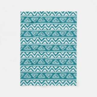 Turquoise & White Geometric Tribal Pattern