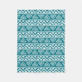Turquoise & White Geometric Tribal Pattern