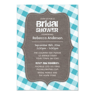 Turquoise & White Gingham Canvas Bridal Shower Personalized Invitations