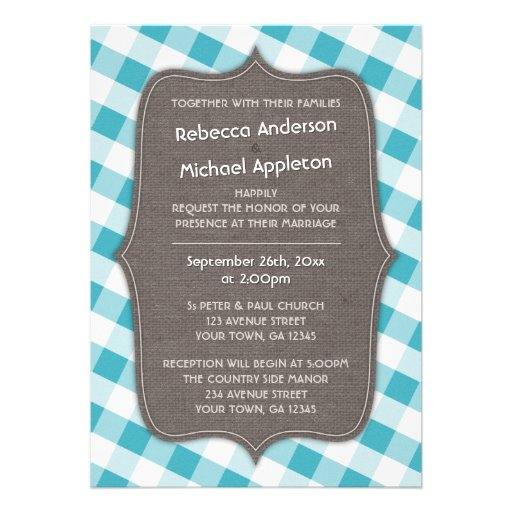 Turquoise White Gingham Canvas Wedding Invitations 5 X 7 Invitation Card