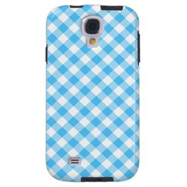 linda_mn Turquoise White Gingham Galaxy S4 Case