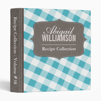 Turquoise & White Gingham Southern Recipe Binder