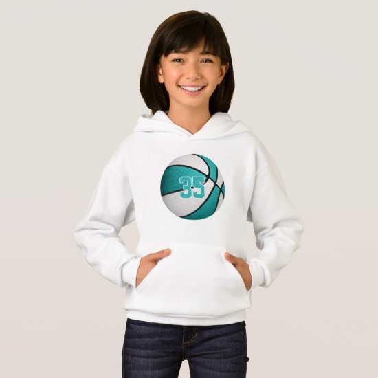 turquoise white girls jersey number basketball hoodie