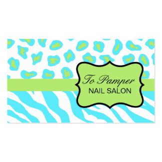 Turquoise, White & Green Zebra & Cheetah Custom Business Card