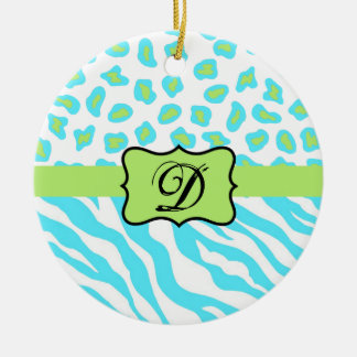 Turquoise, White & Green Zebra & Cheetah Custom Ceramic Ornament