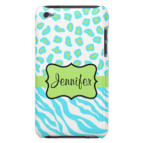 Turquoise, White & Green Zebra & Cheetah Custom iPod Touch Cover