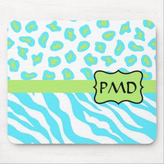 Turquoise, White & Green Zebra & Cheetah Custom Mouse Pad