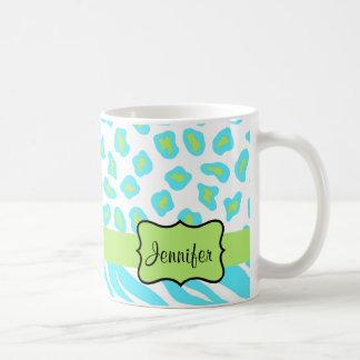 Turquoise, White & Green Zebra & Cheetah Custom Classic White Coffee Mug