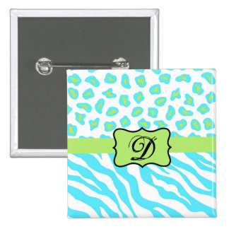 Turquoise, White & Green Zebra & Cheetah Custom Pinback Button