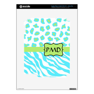 Turquoise, White & Green Zebra & Cheetah Custom Skins For iPad 3