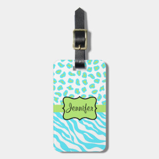 Turquoise, White & Green Zebra & Cheetah Custom Tag For Luggage