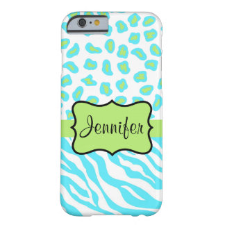 Turquoise, White Green Zebra Leopard Skin Name Barely There iPhone 6 Case