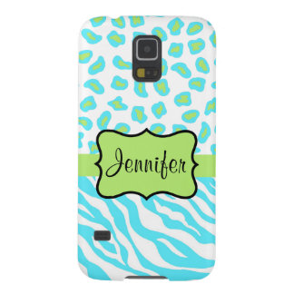 Turquoise, White Green Zebra Leopard Skin Name Case For Galaxy S5