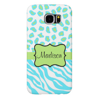 Turquoise, White Green Zebra Leopard Skin Name Samsung Galaxy S6 Cases