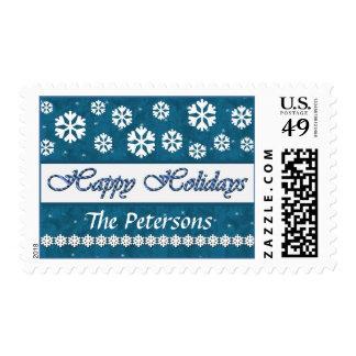 TURQUOISE & WHITE Happy Holidays Christmas Stamp