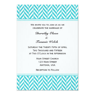 Turquoise White Herringbone Wedding Invitation