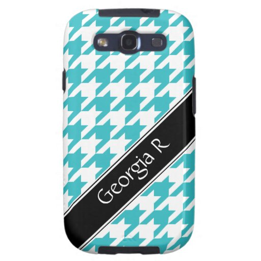 Turquoise White Houndstooth Samsung Galaxy S3 Case
