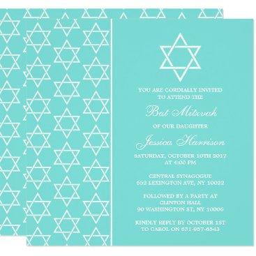 Beach Themed Turquoise & White Jewish Star Of David Bat Mitzvah Card