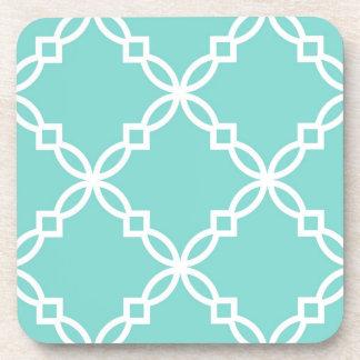 Turquoise White Large Fancy Quatrefoil Pattern Coaster