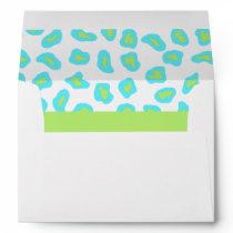 Turquoise, White & Lime Green Zebra & Cheetah Skin Envelope