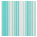 [ Thumbnail: Turquoise & White Lines/Stripes Pattern Fabric ]