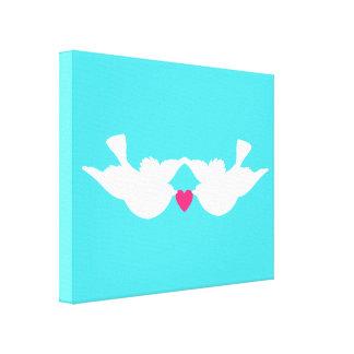 Turquoise White Love Birds Silhouette Canvas Print