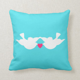 Turquoise White Love Birds Silhouette Pillows