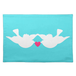 Turquoise White Love Birds Silhouette Place Mats